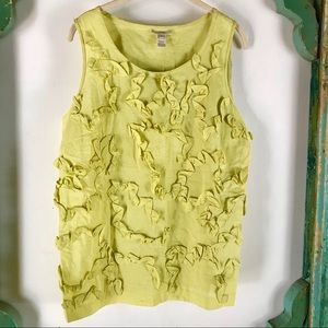 Tops - J Crew Linen Citron Green Tank Top